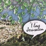 """Moment captured in Old city Jeruaselm: Banner """"I love Jerusalem"""" and someone wrote above """"Me too"""