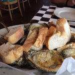 Grilled oysters and bread, a meal!