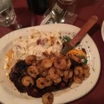 Steak and cajun shrimp with mashed potatoes