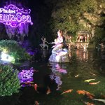 Entrance pond and the famous FantaSea neon sign