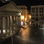 Midnight view of the Piazza della Rotonda from our room