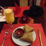 Samosas for entree and a Mango Lassie