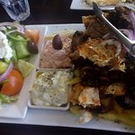 Three meat platter with x2 dips and greek salad and hot chips