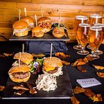 A selection of our sliders, along side our some crisp pints of Beer Moretti