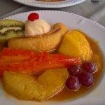 Exotic fruit platter flambé