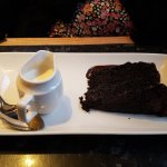 Chocolate fudge cake with cream