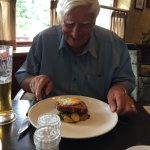 My friend is pleased with his Gammon and Egg with chips