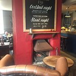 log fire at the cosy Pearsons Arms