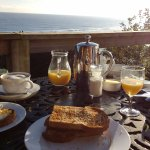 Breakfast on the decking on our last visit  in Sepember