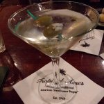Ketel One, straight up, with bleu cheese stuff olives