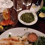 Seafood dinner, with a side of creamed spinach and lobster tail