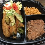 vegan avocado rellenos with rice and refried beans