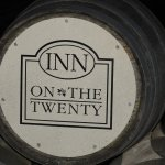 Hotel name appropriately enough on a wine barrel