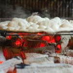 traditional Lavash on charcoal