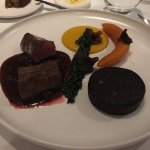 Haunch of sika deer, crown prince pumpkin, black pudding, pickled walnuts, chocolate