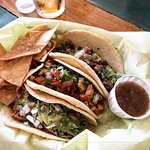 The delicious street tacos, chips and salsa at Atwater Village Tavern in Los Angeles.
