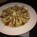 Yellow tail sashimi with avacodo and cilantro sauce and Lobster Sambal (chunks marinated in sake
