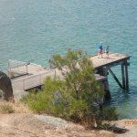 the pier for diving, a staircase allows getting out immediately