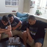chess boards and other games in the bar terrace