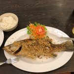 Amazing garlic grilled fish.