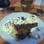 Tarte aux noirs de pecan et mousse chocolat aux pepites de chocolat blanc