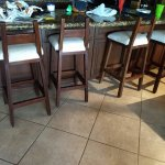 Stools are way to high for the counter top breakfast counter.