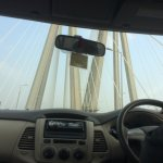 Beneath larger bridge span