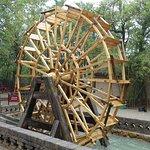 Undershot water wheel. Three hundred years before invented in Europe