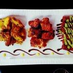 Chicken, fish and lamb kabab