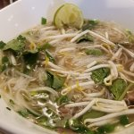 Pho after adding sprouts, basil and mixing up the noodles & beef.