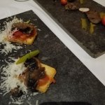 dinner apps- mushroom brushetta and steak bites