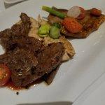 Dinner- flank steak, jerk chicken and porkchop