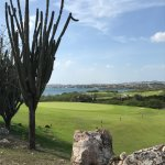 Hole 12 green of the par 5 another sweeping view of the bay