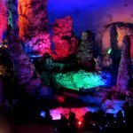 Cave is full of colourful light effects