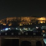 View of Mehrangarh Fort from the rooftop restaurant at night