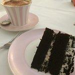 Delicious Oreo Cake with a Cappuccino