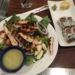 The Honey Apple Chicken Salad and Spicy Tuna Roll.