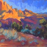 Kolob Canyon, Sunset. Pastel painting by Tracy Haines