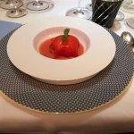 Gazpacho and basil sorbet