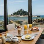 Breakfast overlooking St Michael's Mount