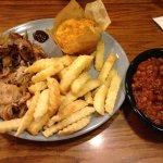 Pulled pork, fries, cornbread, beans