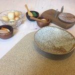 Salt and vinegar loukoumades, taramosalata