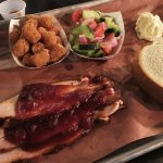 BBQ Turkey with cranberry bbq sauce, tots, tomato-cucumber salad