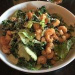 Salad with fried shrimp