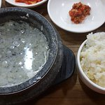 Soft tofu stew with about 10 different versions.  I heard that the gopchang(intestines) version