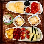 Every morning we were greeted with a tray of fruits and local meats and cheeses.