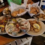fried oysters, oysters Rockefeller, mussels, mussels Diablo, chicken fingers, fried mozzarella.