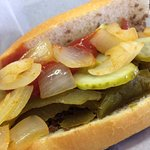 Dalessandro's Philly cheesesteak with sweet pepper, onions, pickles