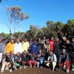 The whole group of porter/guides (Karibu Adventure)