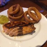 Salmon with onion rings
